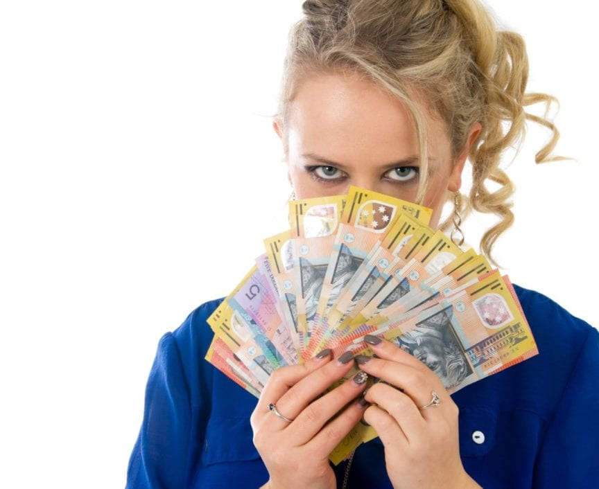 woman holding 50 notes